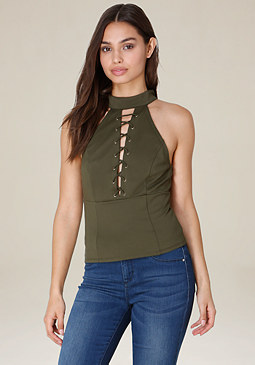 bebe Mock Neck Lace Up Top