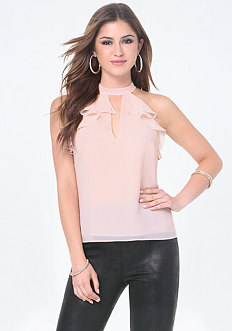 Ruffle Detail Halter Top