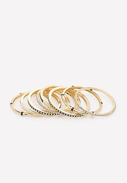 bebe Black & Gold Bangle Set