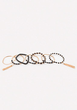 bebe Black & Gold Bracelet Set