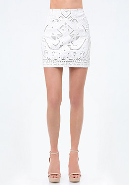 bebe Faux Leather Cutout Skirt