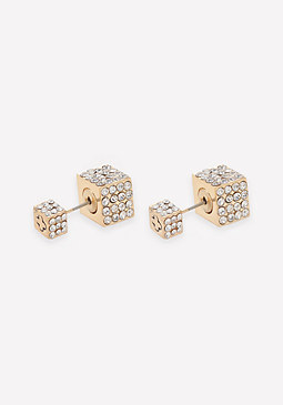 bebe Front-Back Cube Earrings