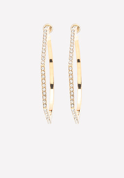 bebe Crystal Geo Hoop Earrings
