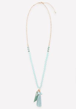 bebe Jade & Quartz Bead Necklace