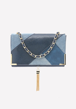 bebe Kyla Denim Patchwork Bag