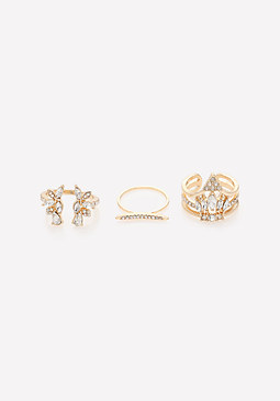 bebe Celestial Crystal Ring Set