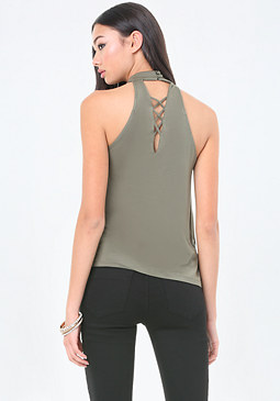 bebe Lace Up Mock Neck Top