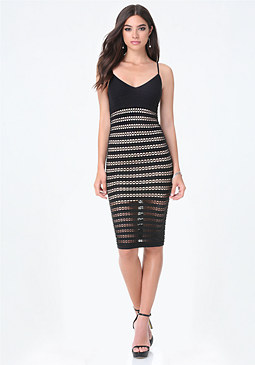 bebe Openwork Striped Dress