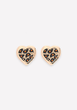 bebe Logo Leopard Heart Earrings