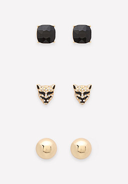 bebe Lion & Stud Earring Set