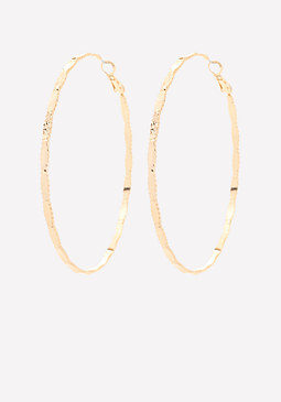 bebe Crimped Hoop Earrings
