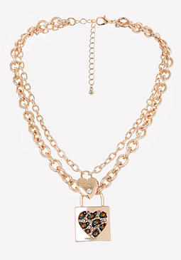 bebe Logo Leopard Heart Necklace