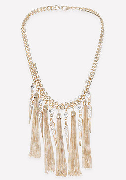 bebe Tassel & Spike Necklace