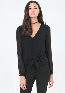bebe Side Tie V-Neck Top