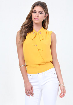 bebe Tie Neck Surplice Top