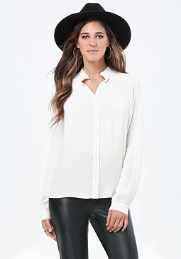 bebe Ruffle Neck Shirt