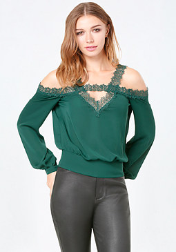 bebe Lace Trim Cold Shoulder Top