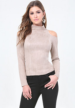 bebe Faux Suede Cutout Top
