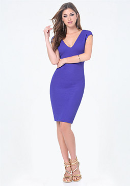 bebe Textured Double V Dress