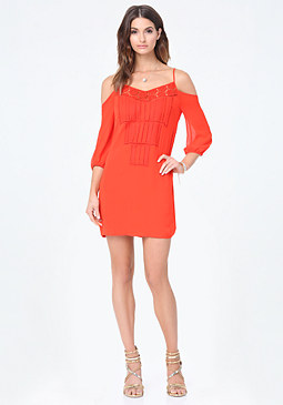 bebe Cold Shoulder Shift Dress