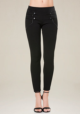 bebe Twill Snap Strap Leggings