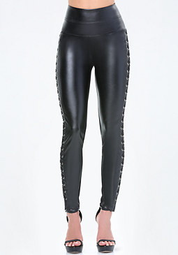 bebe Lace Up High Rise Leggings