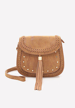 bebe Studded Saddle Bag