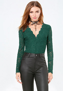 bebe Lace Long Sleeve Bodysuit