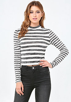 Mix Striped Mock Neck Top