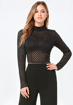 bebe Diamond Mesh Mock Neck Top
