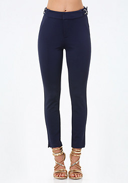 bebe Buckle Trim Ponte Pants