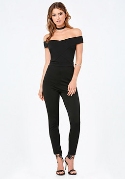 bebe Ponte Off Shoulder Jumpsuit