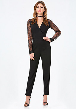 bebe Lace Back Jumpsuit