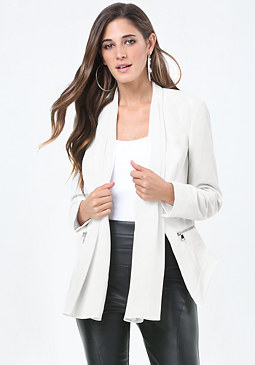 bebe Crepe Zip Detail Jacket