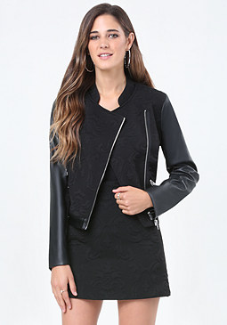 bebe Mix Media Moto Jacket