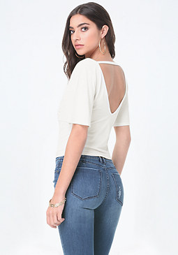 bebe Back V Flutter Sleeve Top