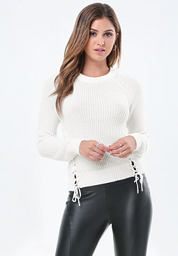 bebe Ribbed Lace Up Sweater