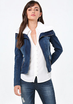 Sherpa Denim Jacket at bebe