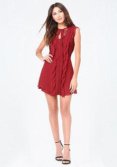 Lace Inset Ruffle Dress