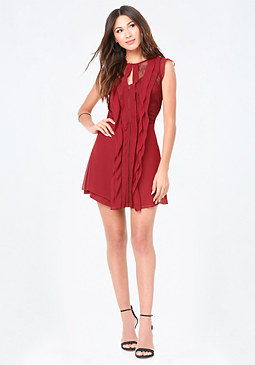 bebe Lace Inset Ruffle Dress