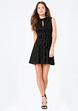 bebe Georgette Ruffle Dress
