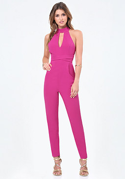 bebe Jagger Mock Neck Jumpsuit