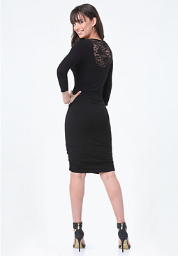 bebe Logo Lace Back Dress
