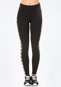 bebe Logo Leopard Block Leggings