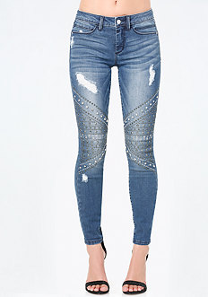 Embellished Moto Jeans