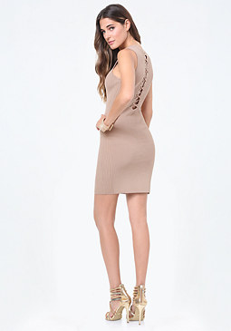 bebe Back Lace Up Sweater Dress