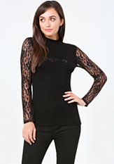 bebe Logo Lace Sleeve Top