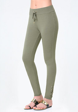 bebe Logo Lace Up Ankle Leggings