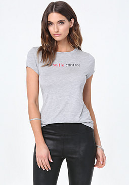 bebe Heather Grey Selfie Tee