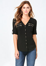 bebe Mandy Zip Welt Top